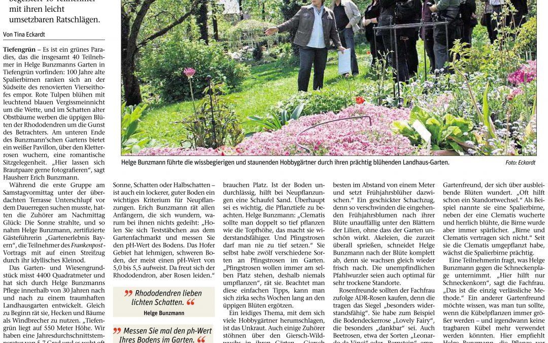 Ausführlicher Artikel in der Frankenpost über Gartenerlebnisführerin Helge Bunzmann und ihren Landhausgarten